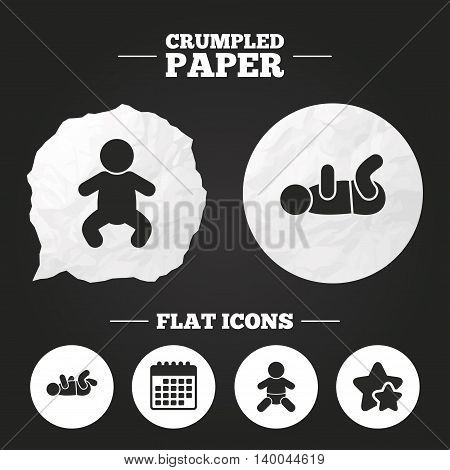 Crumpled paper speech bubble. Newborn icons. Baby infant or toddler symbols. Child silhouette. Paper button. Vector
