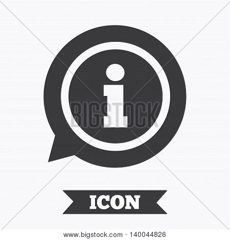 Information sign icon. Info speech bubble symbol. Graphic design element. Flat information symbol on white background. Vector