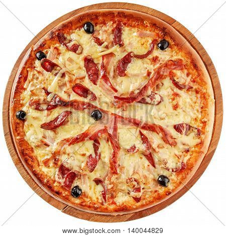 Pizza with bacon, smoked meat, sausages, onion olives and mozzarella