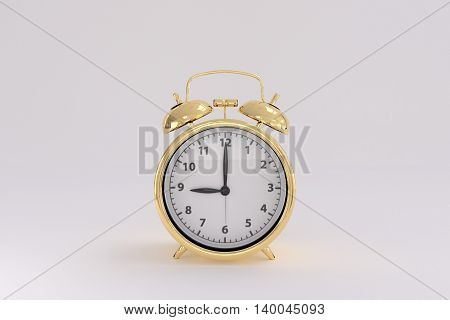 3D rendering of a golden alarm clock on a white background