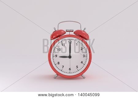 3d rendering of a red alarm clock on a white background