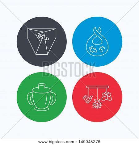 Diapers, child mug and baby toys icons. Dirty bib linear sign. Linear icons on colored buttons. Flat web symbols. Vector