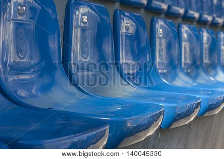 MADRID,SPAIN-MAY 2016: Tribune seats at Real Madrid stadium