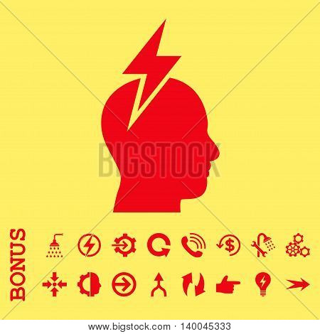 Headache vector icon. Image style is a flat pictogram symbol, red color, yellow background.