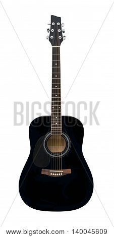 Black Wooden Classical Acoustic Guitar Isolated on a White Background