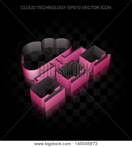 Cloud computing icon: Crimson 3d Cloud Network made of paper tape on black background, transparent shadow, EPS 10 vector illustration.