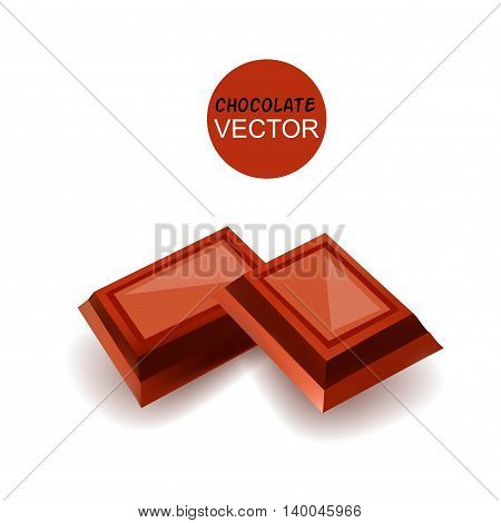 Chocolate Pieces. Vector Illustration Isolated On White Background
