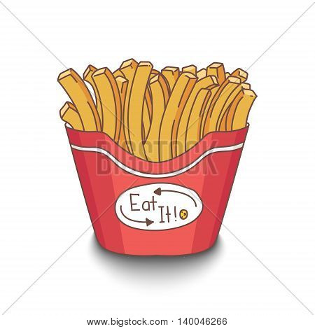 Cute hand-drawn cartoon style fries with shadow on white background. EPS10