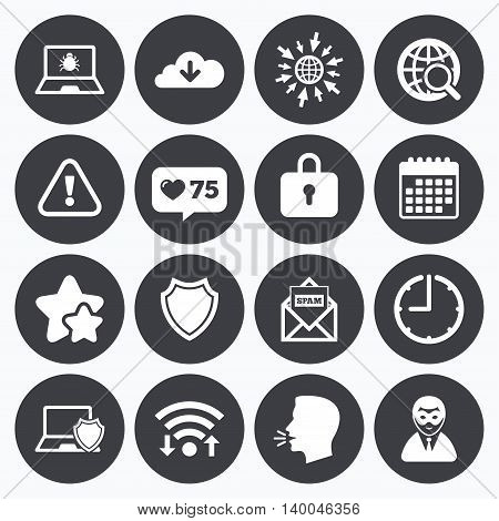 Calendar, wifi and clock symbols. Like counter, stars symbols. Internet privacy icons. Cyber crime signs. Virus, spam e-mail and anonymous user symbols. Talking head, go to web symbols. Vector
