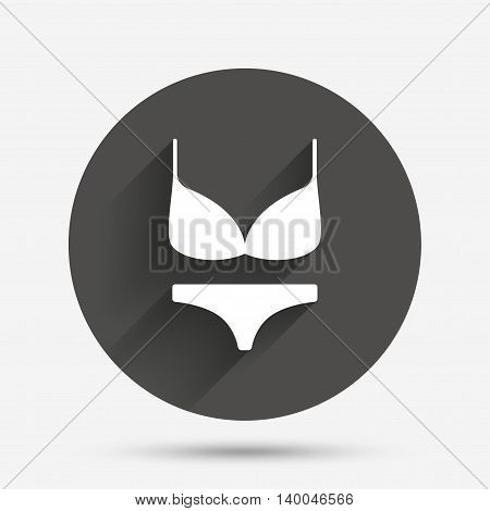 Women bra and panties sign icon. Intimates underwear symbol. Circle flat button with shadow. Vector