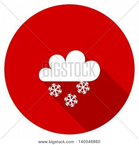 snowing red vector icon, circle flat design internet button, web and mobile app illustration