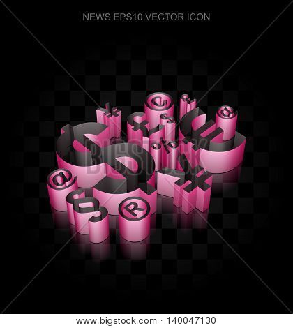 News icon: Crimson 3d Finance Symbol made of paper tape on black background, transparent shadow, EPS 10 vector illustration.