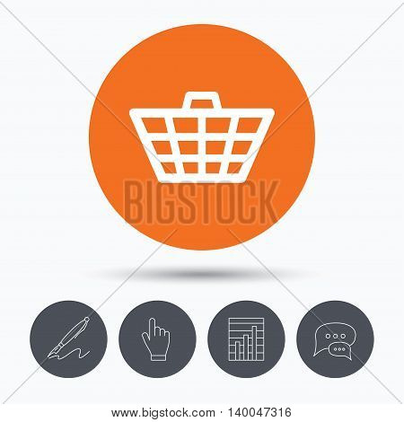 Basket icon. Shopping cart symbol. Speech bubbles. Pen, hand click and chart. Orange circle button with icon. Vector
