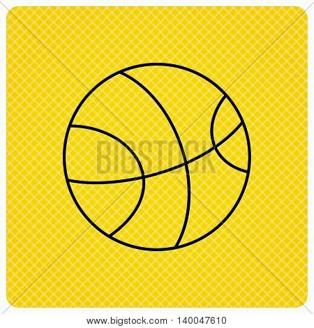Basketball equipment icon. Sport ball sign. Team game symbol. Linear icon on orange background. Vector