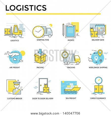 Logistics icons, thin line, flat design