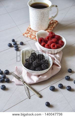 Blackberry, Raspberry, Blueberry And A Cup Of Tea