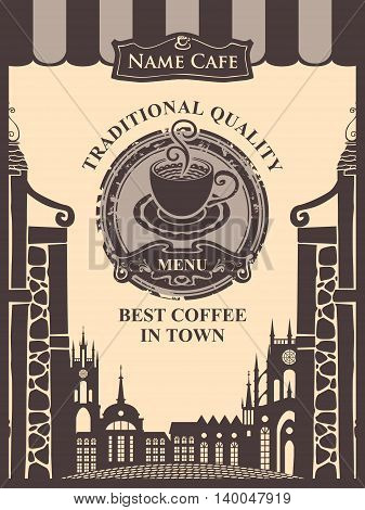 menu for a cafe with a cup of coffee or tea on the background of houses in the old town