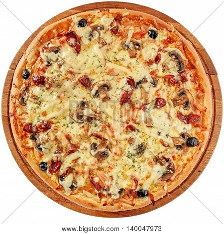 Pizza with smoked meat, sausages, mushrooms mozzarella olives