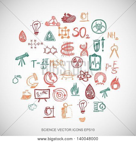 Multicolor doodles flat Hand Drawn Science Icons set In A Circle on White background. EPS10 vector illustration.