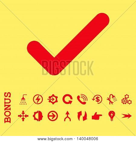 Ok vector icon. Image style is a flat iconic symbol, red color, yellow background.