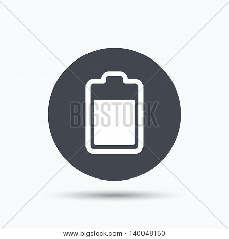Battery power icon. Charging accumulator symbol. Flat web button with icon on white background. Gray round pressbutton with shadow. Vector