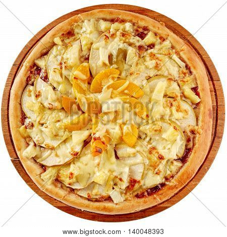 Fruit pizza with cherry jam, pineapple, peaches, apples and cream cheese