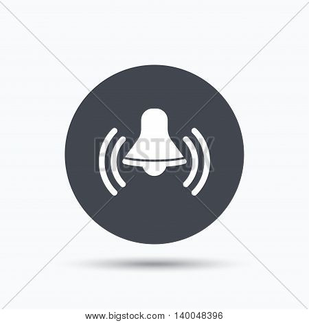 Bell icon. Reminder alarm signal symbol. Flat web button with icon on white background. Gray round pressbutton with shadow. Vector