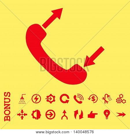 Phone Talking vector icon. Image style is a flat pictogram symbol, red color, yellow background.