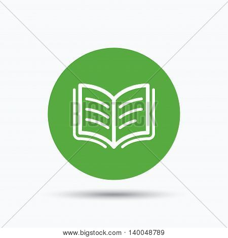 Book icon. Study literature sign. Education textbook symbol. Flat web button with icon on white background. Green round pressbutton with shadow. Vector