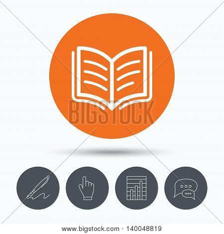 Book icon. Study literature sign. Education textbook symbol. Speech bubbles. Pen, hand click and chart. Orange circle button with icon. Vector