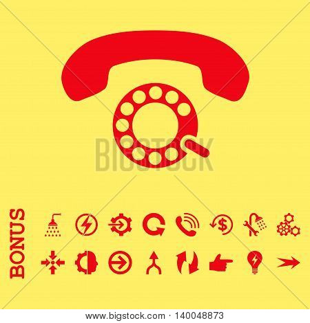 Pulse Dialing vector icon. Image style is a flat iconic symbol, red color, yellow background.