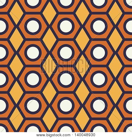 Vintage pencil end seamless pattern geometric shapes in 1970s style.