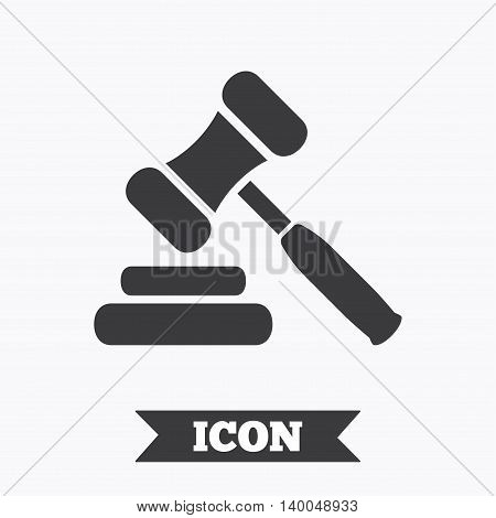 Auction hammer icon. Law judge gavel symbol. Graphic design element. Flat auction hammer symbol on white background. Vector
