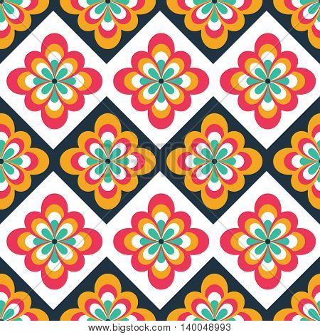 Seamless folk pattern with floral decorations. Ethnic print. Can be used for web print and book design home decor fashion textile wallpaper.