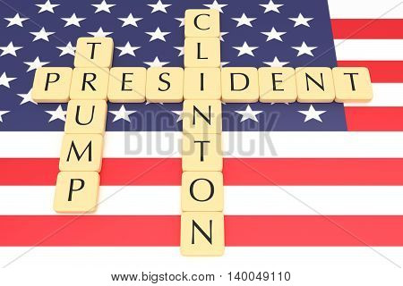 BERLIN GERMANY - JULY 26 2016: US election 2016: Letter tiles president clinton trump with US flag 3d illustration