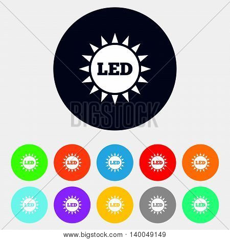 Led light sun icon. Energy symbol. Round colourful 11 buttons. Vector