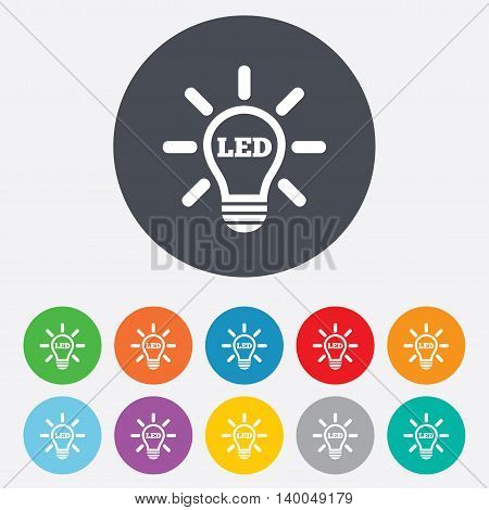 Led light lamp icon. Energy symbol. Round colourful 11 buttons. Vector