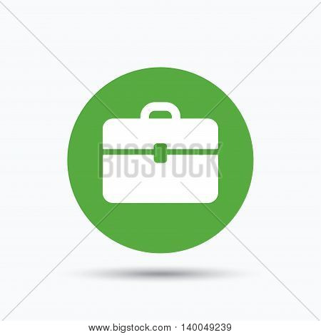 Briefcase icon. Diplomat handbag symbol. Business case sign. Flat web button with icon on white background. Green round pressbutton with shadow. Vector