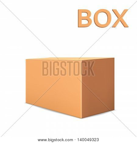 Realistic cardboard box isolated on white background. 3D packaging.