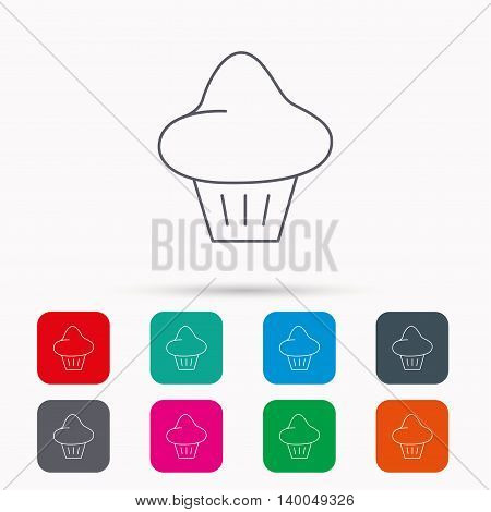Brioche icon. Bread bun sign. Bakery symbol. Linear icons in squares on white background. Flat web symbols. Vector