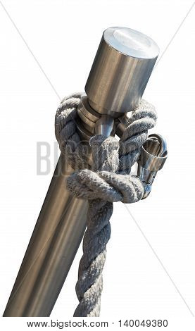 metal stand with a rope isolated on the white background