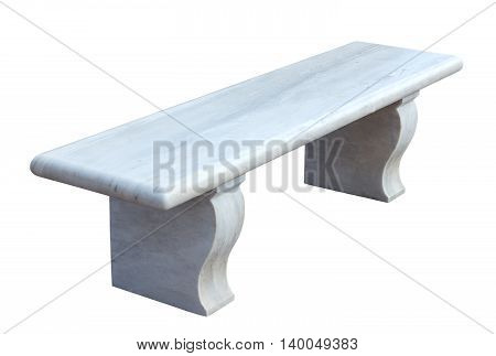 white marble bench isolated on the white background