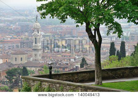 View to the Bergamo city, North Italy