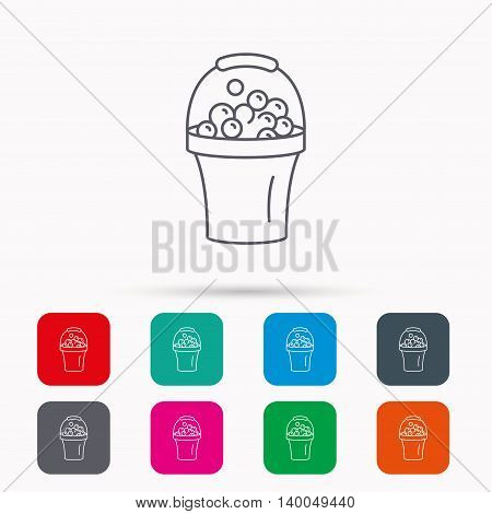 Bucket with foam icon. Soapy cleaning sign. Linear icons in squares on white background. Flat web symbols. Vector