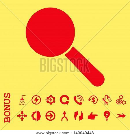 Search Tool vector icon. Image style is a flat pictogram symbol, red color, yellow background.