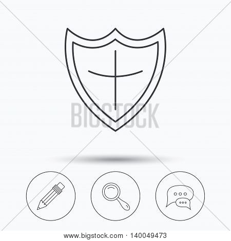Chat speech bubbles, magnifier and pencil icons. Shield protection linear sign. Linear icons in circle buttons. Flat web symbols. Vector