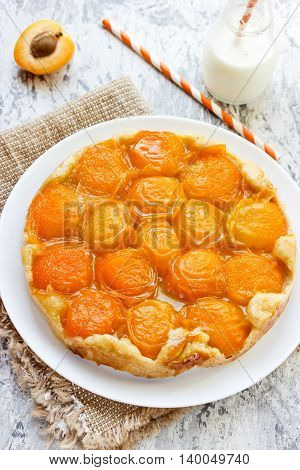 French cuisine - caramelized tarte tatin with apricot