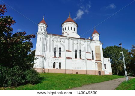 Orthodox white Cathedral in Vilnius, North Europe