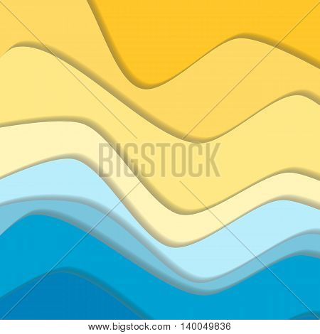 Yellow and blue curve wave line background, sea and beach in paper cut style. Cropped with Clipping Mask