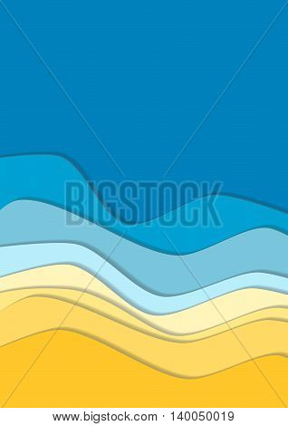 Yellow and blue curve wave line background, sea and beach in paper cut style. space for text. Cropped with Clipping Mask